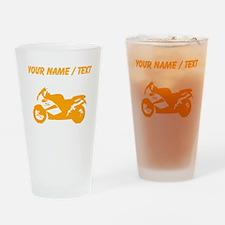 Custom Orange Crotch Rocket Motorcycle Drinking Gl