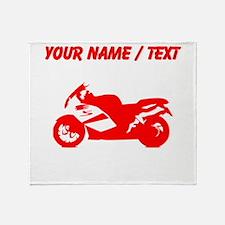 Custom Red Crotch Rocket Motorcycle Throw Blanket