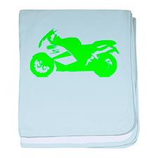 Green Crotch Rocket Motorcycle baby blanket