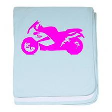 Pink Crotch Rocket Motorcycle baby blanket