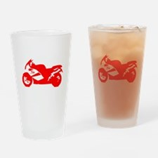 Red Crotch Rocket Motorcycle Drinking Glass