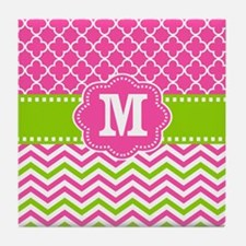Pink Green Chevron Quatrefoil Monogram Tile Coaste