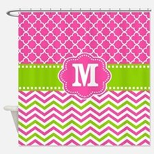 Pink Green Chevron Quatrefoil Monogram Shower Curt