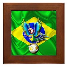 Brazil Macaw with Soccer Ball Framed Tile