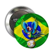 """Brazil Macaw with Soccer Ball 2.25"""" Button"""