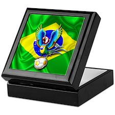 Brazil Macaw with Soccer Ball Keepsake Box
