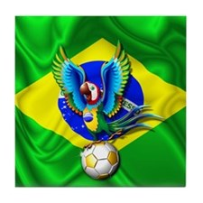 Brazil Macaw with Soccer Ball Tile Coaster
