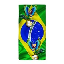Brazil Macaw with Soccer Ball Beach Towel