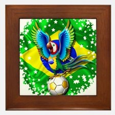 Brazil Macaw with Soccer Ball Framed Tile