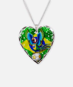 Brazil Macaw with Soccer Ball Necklace