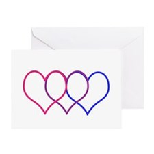 Bisexual Hearts Greeting Cards