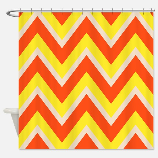 Candy Corn Chevron Shower Curtain