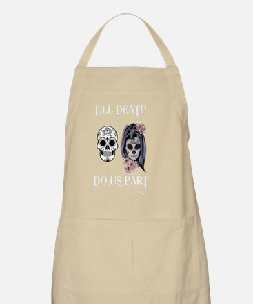 Cute Just married skull Light Apron