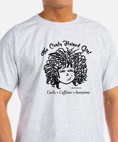 Curly Hair plus Caffeine equals AWES T-Shirt