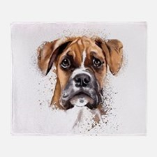 Boxer Painting Throw Blanket