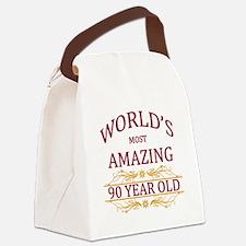 90th. Birthday Canvas Lunch Bag