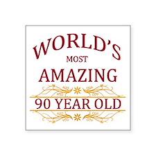 "90th. Birthday Square Sticker 3"" x 3"""