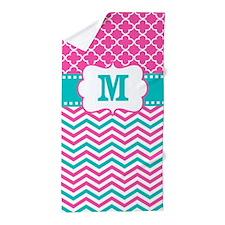 Pink Teal Chevron Quatrefoil Monogram Beach Towel
