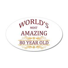 80th. Birthday 20x12 Oval Wall Decal