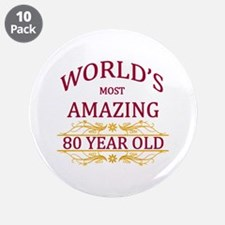"""80th. Birthday 3.5"""" Button (10 pack)"""