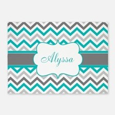 Gray Teal Chevron Personalized 5'x7'Area Rug