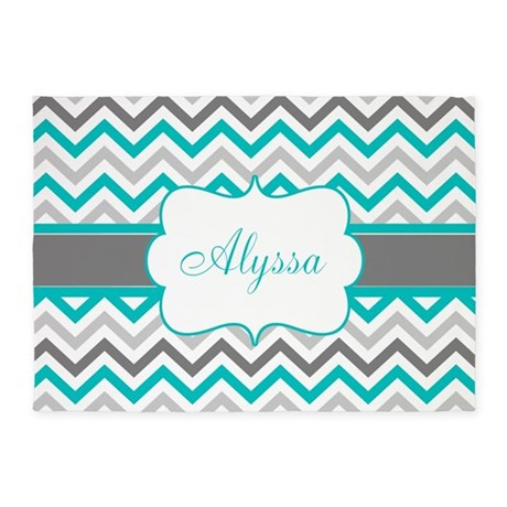 Gray Teal Chevron Personalized 5u0027x7u0027Area Rug