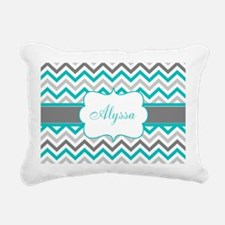 Gray Teal Chevron Personalized Rectangular Canvas