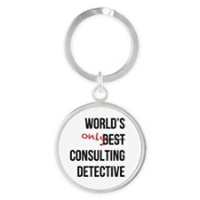 World's Only Consulting Detective Round Keychain