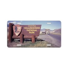Leaving Yellowstone Aluminum License Plate