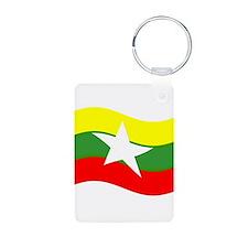 Waving Burma Flag Keychains