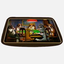 Poker Dogs Friend (brown Border) Bathmat