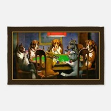 Poker Dogs Friend (brown Border) 3'x5' Area Rug