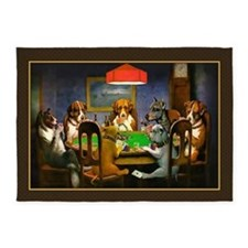 Poker Dogs Friend (brown Border) 5'x7'area Rug