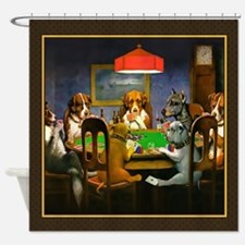 Poker Dogs Friend (brown Border) Shower Curtain