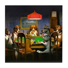 Poker Dogs Friend (brown Border) Tile Coaster