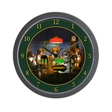 Poker Dogs Friend (green) - Wall Clock
