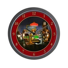Poker Dogs Friend (red) - Wall Clock