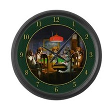 Poker Dogs Friend (green) - Large Wall Clock