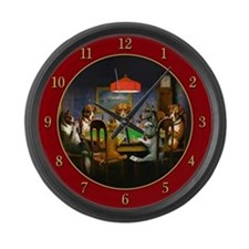 Poker Dogs Friend (red) - Large Wall Clock