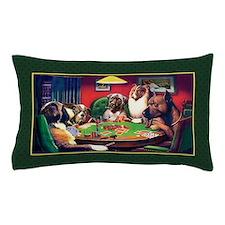 Poker Dogs Bluff (green Border) Pillow Case