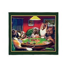Poker Dogs Bluff (green Border) Throw Blanket