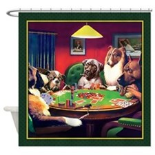 Poker Dogs Bluff (green Border) - Shower Curtain