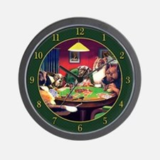 Poker Dogs Bluff (green Border) Wall Clock