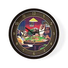Poker Dogs Bluff (brown Border) Wall Clock