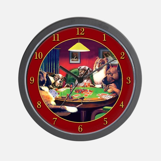 Poker Dogs Bluff (red Border) Wall Clock