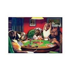 Poker Dogs Bluff Rectangle Magnet