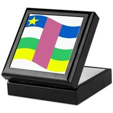 Waving Central African Republic Flag Keepsake Box