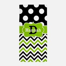 Black Green Dots Chevron Personalized Beach Towel