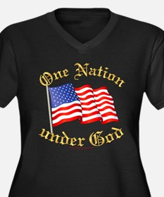One Nation under God Wm Plus V-Nk Dk Tee