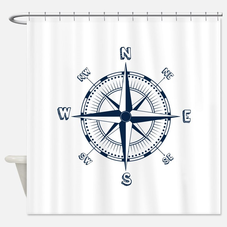 Compass shower curtains compass fabric shower curtain liner